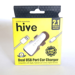 HIVE Car Charger 2.1 Amp Double slot with Data Cable (White)