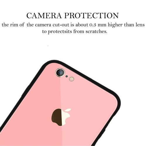 Apple iPhone 6 Back Case Cover Luxurious Toughened Glass Back Case with Shockproof TPU Bumper Apple iPhone 6 (Light Pink Glass)