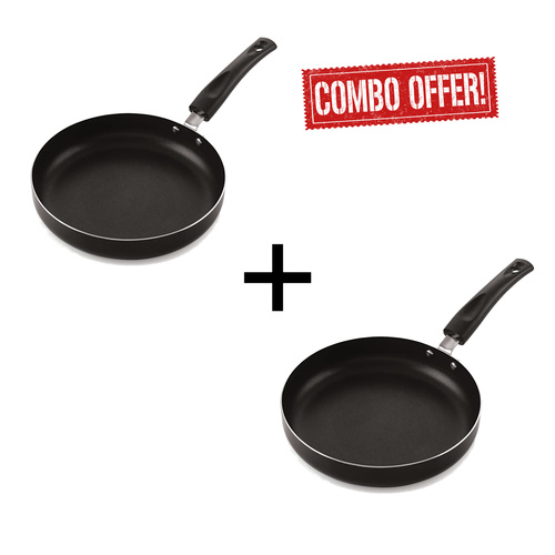 Nelcon N/A 24 cm Diameter Aluminium Fry Pan Without Lid (Black, Thickness - 2.6 mm) (Pack of 2 Pcs)