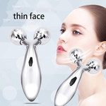 Face Massager,3 D Manual 2 Roller Face Slimming Massager, Portable Y Type Thin Face Machine Roller Face Massager V-shaped Face Silver