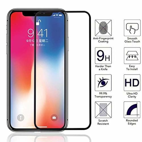 11D Tempered Glass Screen Protector Guard for Apple iphone XR (Black) - Full Screen coverage (Edge to Edge)