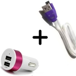 Rbotronics Car Charger with Smiley Micro USB Led Color Changing Light Cable Combo of 2