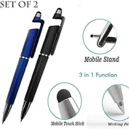 Rbotronics (Set of 2) Universal 3 in 1 Ballpoint Function Stylus Pen with Mobile Stand Holder, Writing Pen,Screen Wipe for All Android Touchscreen Mobile Phones and Tablets (Multi-Color)