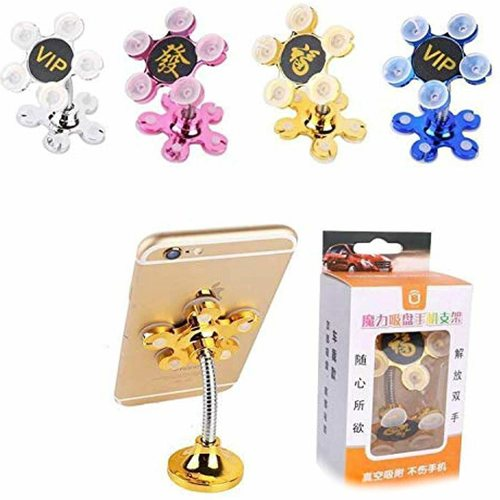 Mobile Phone Stand by VIP Portable 360 Degree Rotatable Multi Angel Metallic with Flower Suction Cup Mount Stand Compatible Universally All Mobiles Multi-Colour