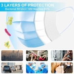 High Quality Disposable Face Mask for Coronavirus, 3 Ply Filter Breathable Safety Mask with Elastic Ear loop 25 Pcs