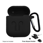 Silicone Shock Proof Protection Sleeve Skin Carrying Bag Box Cover Case for Apple AirPods Wireless Headset Earphone (Black)