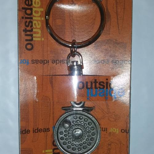 GSI Fly Reel Pewter Keychain .. New