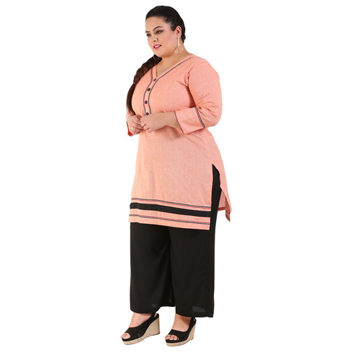 Orange Colour Straight Khadi Kurti