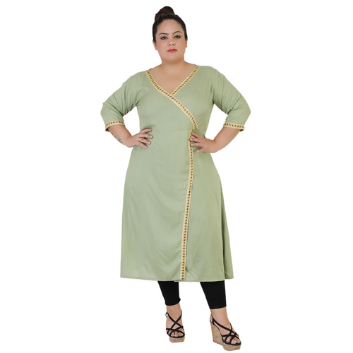 Green Colour Angrakha Rayon Kurti
