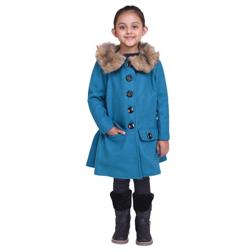 Firozi Colour Kids Woolen Coat with Artificial Fur
