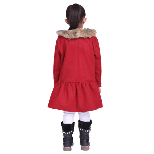 Red Colour Kids Woolen Coat with Artificial Fur