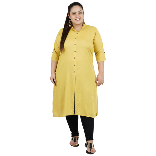 Khaki Colour Straight Rayon Kurti