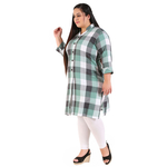 Green Colour Straight Checked Woolen Kurti