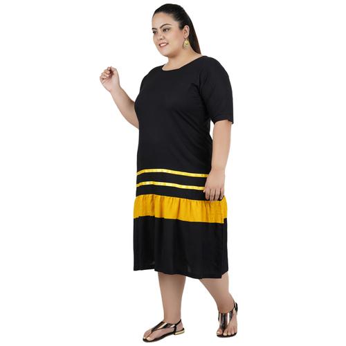 Black & Yellow Colour Rayon Dress