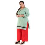 Green Colour Straight Khadi Kurti