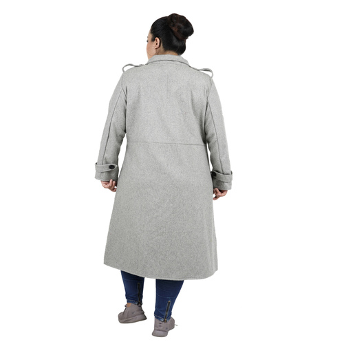 Grey Colour Long Woolen Coat