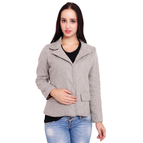 Grey Colour Short Woolen Coat