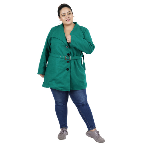 Green Colour Short Woolen Coat