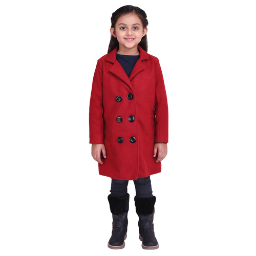 Red Colour Kids Woolen Coat