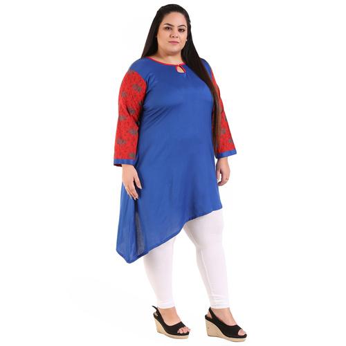 Blue Colour Straight Rayon Kurti
