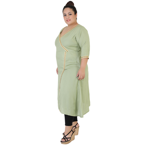 Green Colour Angrakha Rayon Kurti