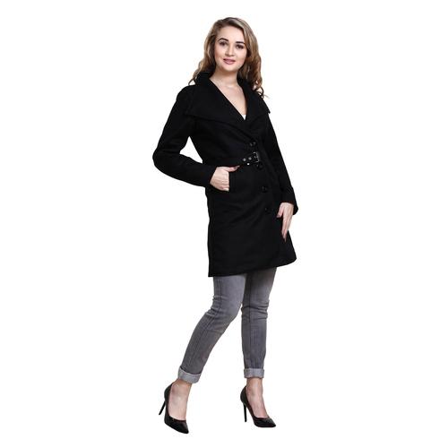 Black Colour Long Woolen Coat
