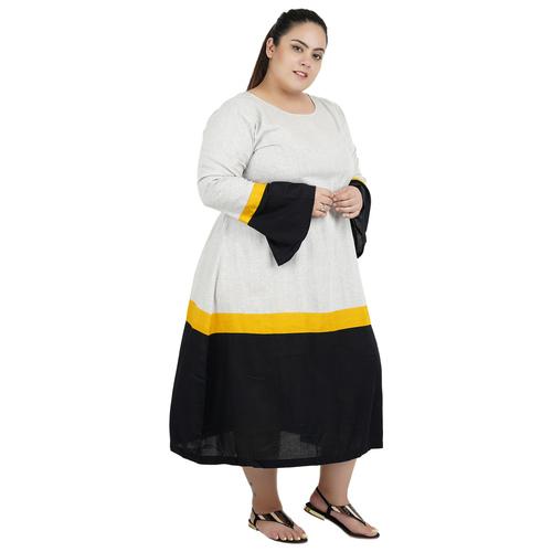 Grey & Black Colour Cotton Dress