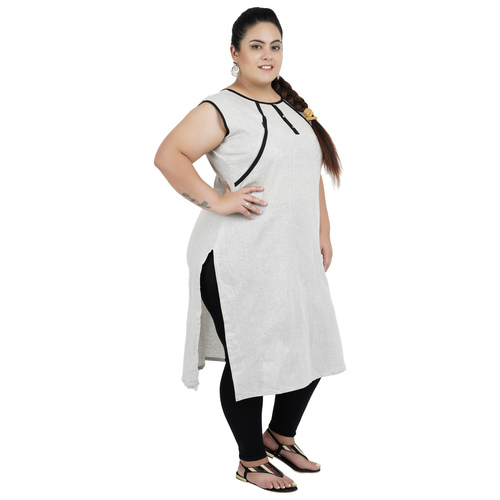 Grey Colour Straight Cotton Feeding Kurti