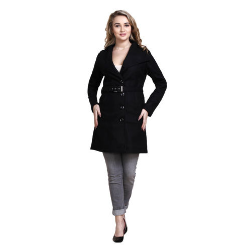 Black Colour Long Woolen Coat