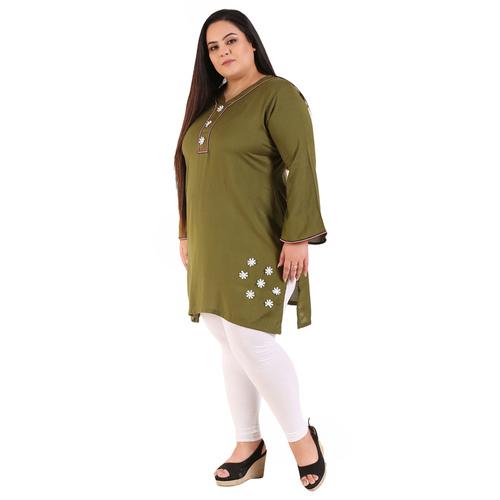 Green Colour Straight Rayon Kurti