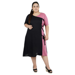 Black & Pink Colour Rayon Dress