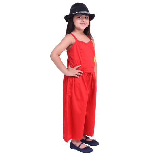 Red Colour Cotton Satin Jumpsuit