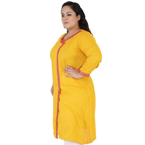 Yellow Colour Angrakha Rayon Kurti