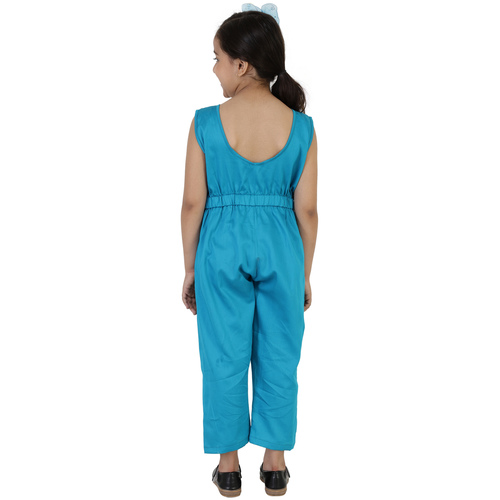 Firozi Colour Cotton Satin Jumpsuit