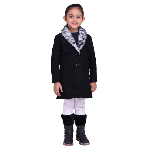 Black Colour Kids Woolen Coat with Artificial Fur