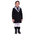 Black Colour Kids Woolen Coat with Artificial Fur