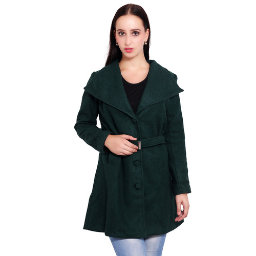 Bottle Green Colour Long Woolen Coat