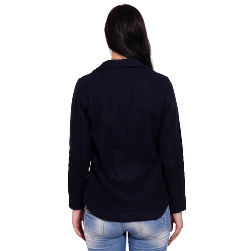 Dark Blue Colour Short Woolen Coat