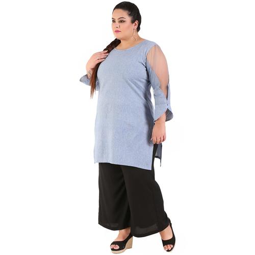Blue Colour Straight Khadi Kurti
