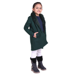 Green Colour Kids Woolen Coat with Artificial Fur