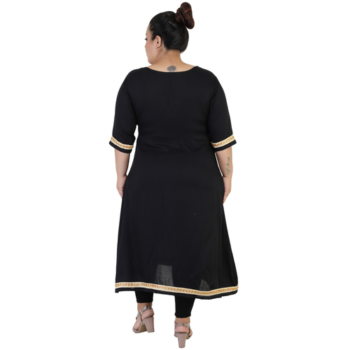 Black Colour Angrakha Rayon Kurti