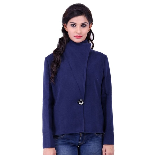 Blue Colour Short Woolen Coat