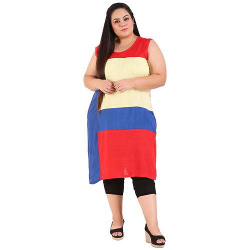 Multi Colour Straight Rayon Kurti