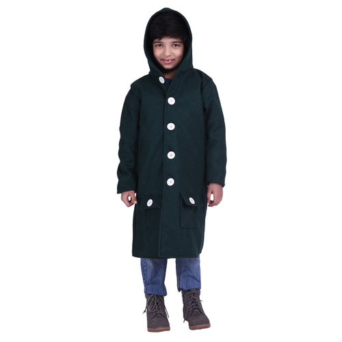 Green Colour Kids Woolen Coat