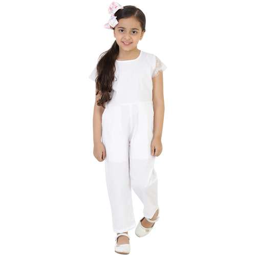 White Colour Cotton Satin Jumpsuit