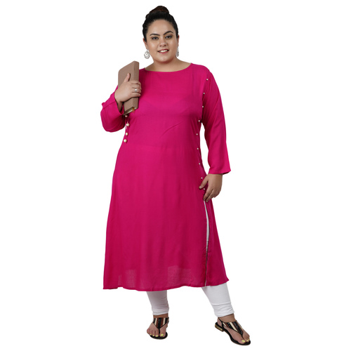 Pink Colour Straight Rayon Kurti