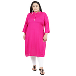 Pink Colour Straight Rayon Kurti