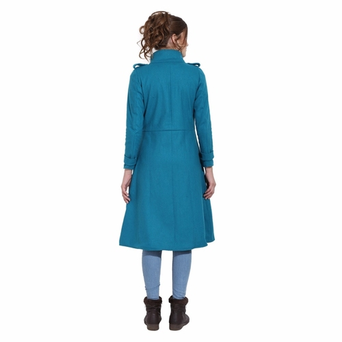 Firozi Colour Long Woolen Coat