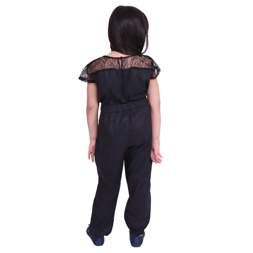 Black Colour Lycra Kids Jumpsuit