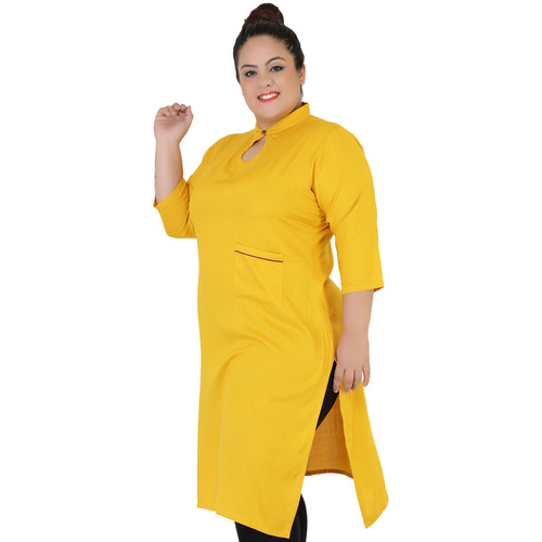 Yellow Colour Straight Rayon Kurti